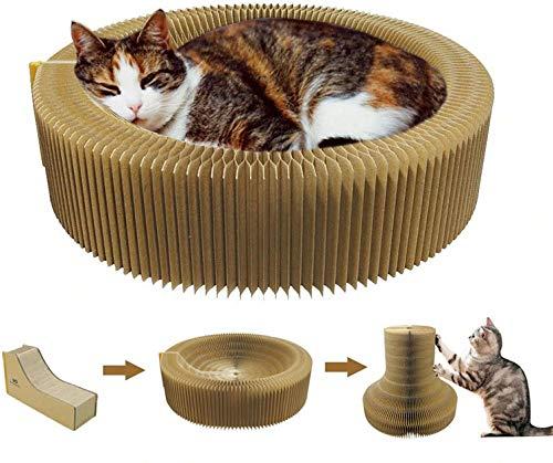 Harmoneazy - Cuccia tiragraffi per gatti, 50 cm, in cartone ad alta densità, pieghevole e portatile, perfetto per il vostro divano e il vostro comfort, il benessere,i Griffes del vostro gatto
