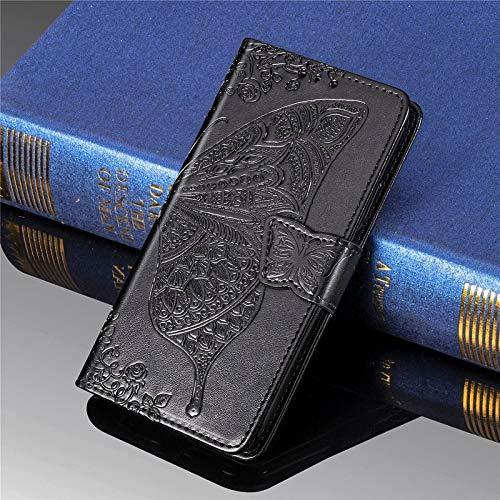 HUANRUOBAIHUO-PHONE CASE mobiele telefoon geval Compatibel met Kyocera Torque G04-slag-geval vlinder reliëf leder bescherming mappen-doos met kaartsleuven en houder & magneetsluiting, zwart