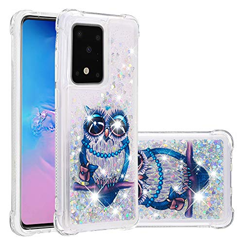 Asdsinfor Galaxy A51 Case Fashion Shiny Transparent Soft TPU Creative Cartoon Cute Quicksand with Shiny Flowing Liquid Cover for Samsung Galaxy A51 Gary Owl YB-LS