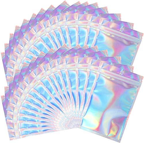 100 Stück Mylar-holografische wiederverschließbare Beutel, geruchsdicht, versiegelbare Beutel für Süßigkeiten und Lebensmittel, Wimpern, Lipgloss, Verpackung (holografische Farbe, 7,5 x 10 cm)