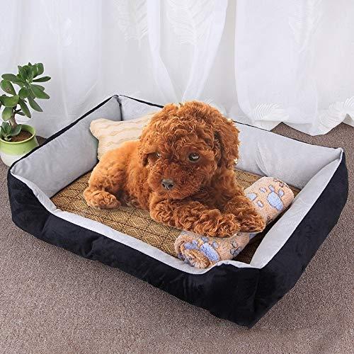 Shufeivicc Patrón de Hueso del Perro Grande Suave Suave de la Estera del Perro del Perro de la Perrera del Perro, con Estera y Manta de ratán Tamaño: M, 70 × 50 × 15cm (Color : Black Grey)
