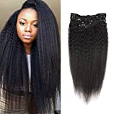 Full Shine 12' 7 Pcs 100g Kinky Straight Human Hair Extensions Clip In Hair Extensions Yaki Clip in Human Hair Black Color Remy Hair Clip in Hair Extensions For Black Women Natural Hair Extensions