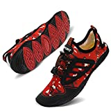 TIAMOU Swim Shoes Womens Water Shoes Mens Barefoot Diving Swim Shoes Water Sports Non-Slip Aqua Shoes for Swim Pool, Beach,Hiking, Kayaking, Boating,Surfing Red&Black