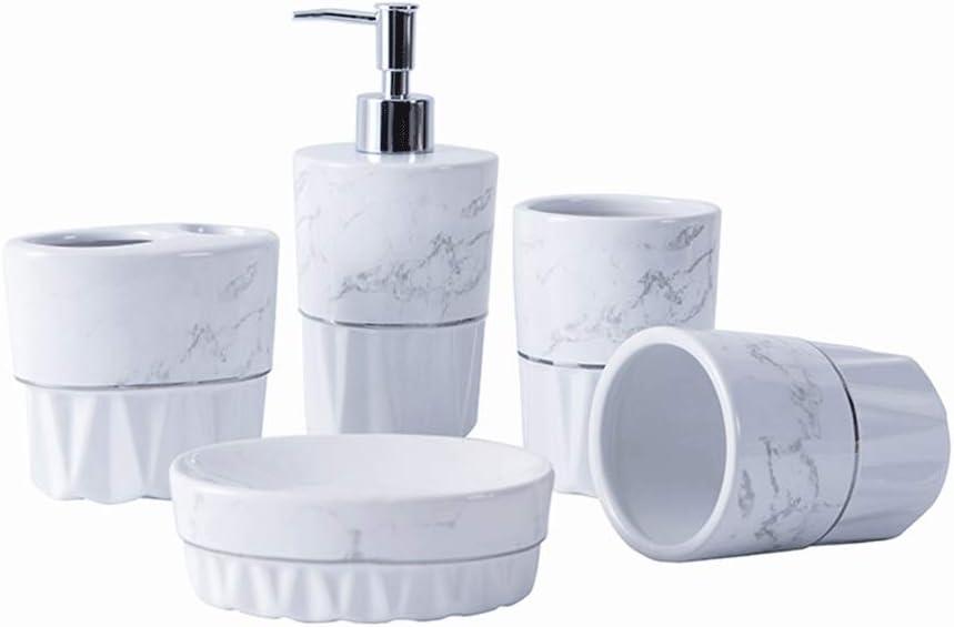 MENGGE Refillable Ceramics Ranking Super Special SALE held TOP2 5 Pieces Set Bathroom of Accessories