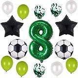 Globos de fútbol para 8º cumpleaños, decoración verde, número 8, globos verdes, globos de fútbol, globos negros con estrella, globos para niños, niñas, jóvenes, 8 años, decoración para fiestas