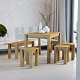 Krok Wood Mesa Bonn, Madera de roble 110x75x75 cm