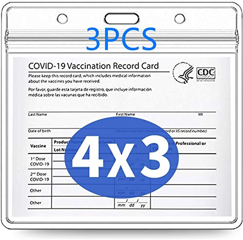 3 Pack - CDC Vaccination Card Protector 4X3 in Immunization Record Vaccine Card Holders Horizontal Badge I'd Name Tag Clear PVC Sleeve Waterproof Pouch Resealable Zip Lanyard Slots for Events Travel