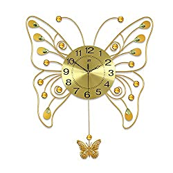 58x66cm Bedroom Mute Big Clock Pendulum Clock Butterfly Wall Clock Living Room Simple Wall Charts Modern Creative Quartz Clock
