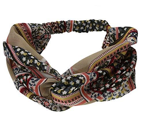 SIX Modisches Haarband mit Ornamenten und floralem Muster, elastisches Band, Boho Chic (456-789)