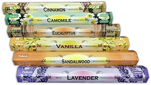 Surtido Mix Inciensos Aromáticos   Incienso Natural Aromaterapia   Caja 6 Paquetes de 20 Unidades c.u.   Gran Duración Aroma Delicado