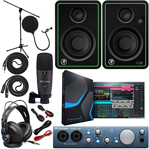 PreSonus AudioBox iTwo 2x4 Audio Recording Interface for USB/iPad and iOS Devices Studio Bundle with Studio One Artist Software Pack with Mackie CR3X Pair Studio Monitors