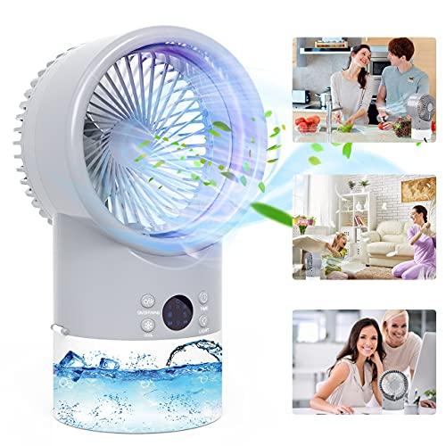 Condizionatore Portatile, TedGem Mini Condizionatore, Mini Raffreddatore D aria, 3 in 1 Ventilatore Umidificatore Condizionatore, 3 Velocità, Basso Rumore, 7 LED Colori, per Casa e Ufficio