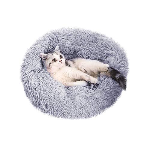 Famgizmo 50 x 50 x 18 cm Donut redondo cojín para perros cama para perros sofá gato cama para animales cojín cálido suave y lavable para gatos perros gris
