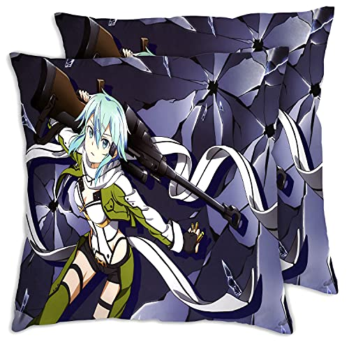 Fundas de almohada para cama Anime Sword Art Online Asada Shino Throw Funda de almohada, almohada cuadrada, funda de almohada estándar 24 x 60 cm 2 piezas