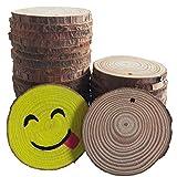 Widamin 30 Pcs, Rodajas de Madera Diámetro 4-5 cm con Agujero Tronco inacabado Círculos de madera para Pirograbador de Madera, Pintura, Decoracion Navideñ