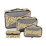 CPYang Daisy - Juego de 4 Cubos de Embalaje para Maletas, organizadores de Viaje, Bolsa de Almacenamiento de Malla para Maleta