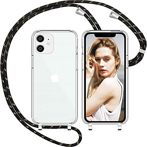 Nupcknn Cadena de teléfono móvil para iPhone 12/iPhone 12 Pro, funda de silicona (extraíble), funda transparente con cordón para colgar, funda protectora de TPU con banda (oro negro)