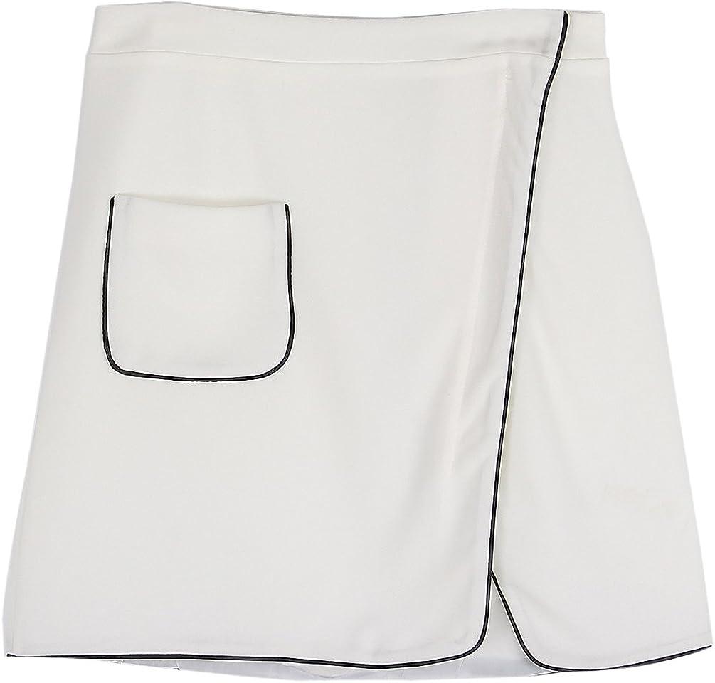 Focal20 A Line Kick Pleat Irregular Hem Skirt Vintage Casual Dress with Zipper