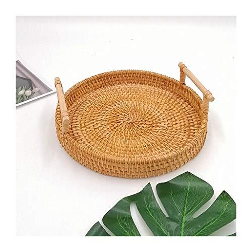 xiaokeai Bread basket Handmade Autumn Rattan Woven Bread Basket Fruit Basket Bread Box Storage Basket Round Tray Picnic Snack Basket Double Handle Rattan basket (Size : M)