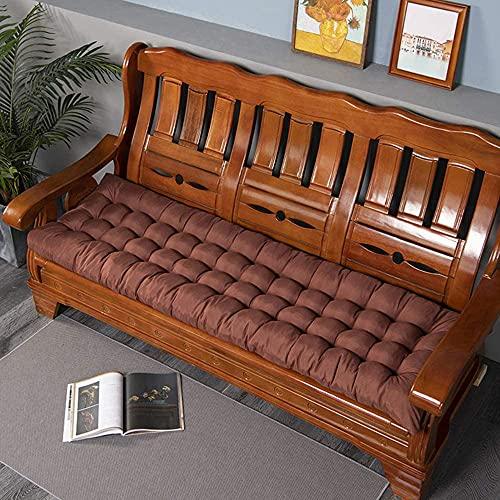 Wangle Cojín para banco de jardín de 2 o 3 plazas, 8 cm de grosor, cojín de asiento largo para silla, cojín de columpio, cojín de asiento para patio, sofá para interiores y exteriores, café