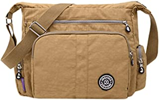 Remanlly Women's Simple Zipper Large Capacity Nylon Shoulder Bag Messenger Bag Crossbody Bags Gym Bag Travel Backpack