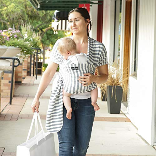 4 in 1 Baby Carrier Wrap and Baby Sling Carrier, Gray and White Stripes Cotton