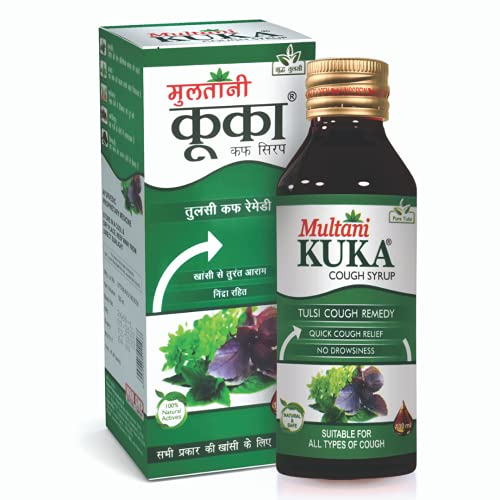 Multani Kuka Cough Syrup | Natural & Ayurvedic Syrup Drink | Relief From All Types Of Cough & Cold | Relief Against Cough & Cold | Goodness Of Tulsi, Pippali, Satpudina & Other Herbs | 100 Ml- 4 Pack