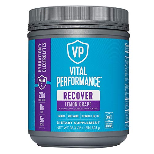Vital Performance Recovery Powder, NSF for Sport Certified, 20g Vital Proteins Collagen, 8g BCAA, 5g EAA, Post Workout Supplements, Lemon Grape