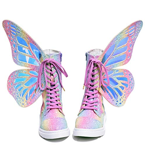 Beautiful Rainbow Butterfly Wings with Short Boots. (37, Rainbow Sugar)