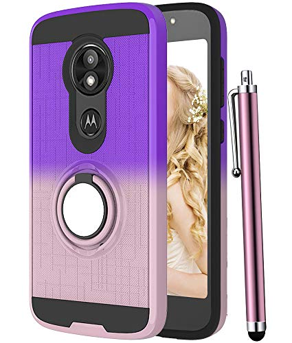 CAIYUNL Moto E5 Play Case,Moto E5 Cruise Case with 360 Degree Rotating Ring Holder Kickstand Rugged Shockproof Hybrid Protective Phone Hard Cover Women Girls for Motorola Moto E5 Play-Purple/Rose Gold