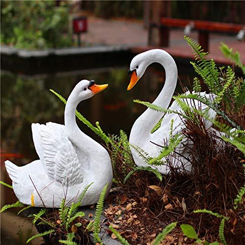 zenggp 2X Harz Pool Schwimmende Weiße Schwan Lockvogel Spielzeug Skulptur Für Outdoor-Hausgarten Dekor Sammlerstück Ornament Tiere