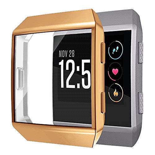 SYOSIN Kompatibel mit Fitbit Ionic Displayschutzfolie, Vollabdeckung, weiche TPU-Bumper-Schutzhülle für Fitbit Ionic Smartwatch (braun)