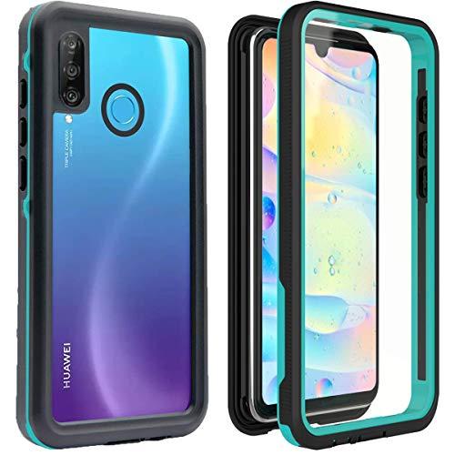 YOGRE für Huawei P30 Lite Hülle IP68 Wasserdicht Handyhülle 360 Grad Schutzhülle Stoßfest Staubdicht hülle mit Eingebautem Displayschutz Transparent Robuste Outdoor Hülle für Huawei P30 Lite, Blau