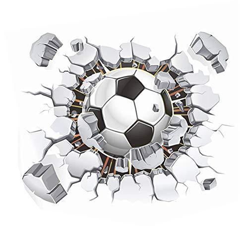Lumanuby 1x 3D Fußball von der Gebrochenen Mauer Wandbilder für Wohnzimmer Schlafzimmer eines Jungen oder Kindergarten PVC Wand Decal Abnehmbarer, Wandtattoo Serie Size 40x50cm