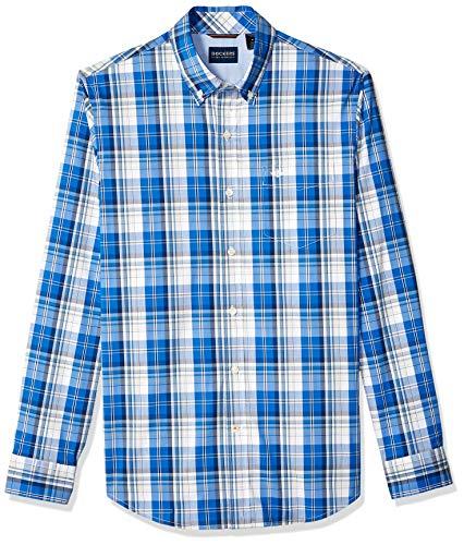 dockers Herren Long Sleeve Front Comfort Flex Shirt Hemd mit Button-Down-Kragen, Code Blue Plaid, S