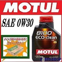 MOTUL 8100ECO-clean 0W30 1Lx5 ポイパック6.5Lx1 トヨタ レジアスエース KDH201K/V 1KD-FTV