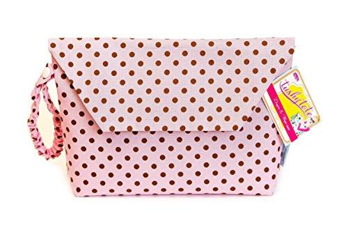 Baumwoll Windeltasche von Sister Chic in rosa mit braunen Punkten