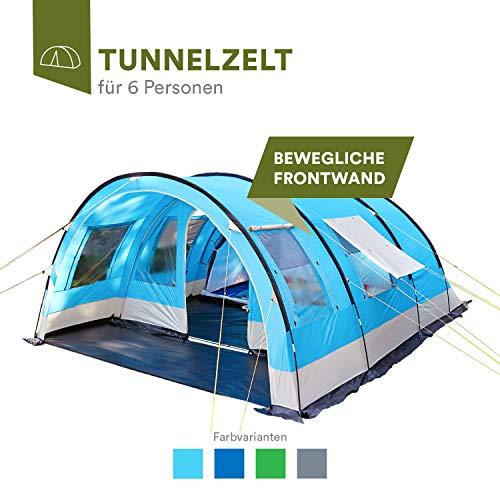skandika Helsinki 6 Personen Familienzelt, Tunnel Gruppen Zelt mit Versetzbarer Vorderwand, Große Sonnendach, Organizer-Taschen, 5000 mm Wassersäule (blau)