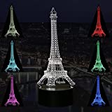 Eiffel Tower 3D Night Light Table Desk LED Lamps 7 Colors Change Decor Atmosphere Illusion Lamp with USB Cable Smart Touch Button Control (Eiffel Tower)
