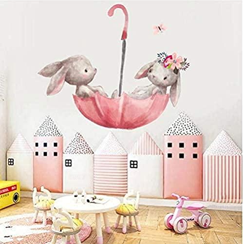Lindo Conejito Gris Ballet Pegatinas de Pared de Conejo para Kids Room Kindergarten Calcomanías de pared Flores rosadas para la sala de niñas Decoración del hogar