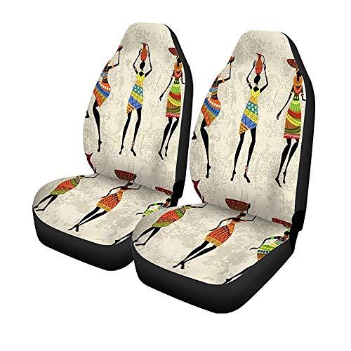 Beth-D set voor autostoelen, kleurrijk, Afrikaans, voor dames, Afrikaans, Ethno-motief, tribal, vaas, voorstoelen, universele bescherming, 14-17 inch