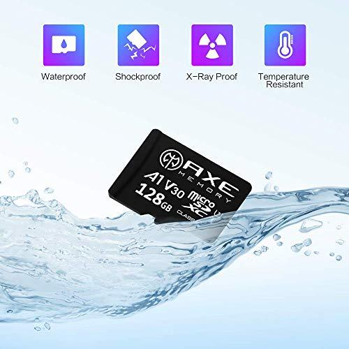 AXE 128GB MicroSDXC-Speicherkarte + SD Adapter mit A1 App Performance, V30, UHS-I U3, 4K