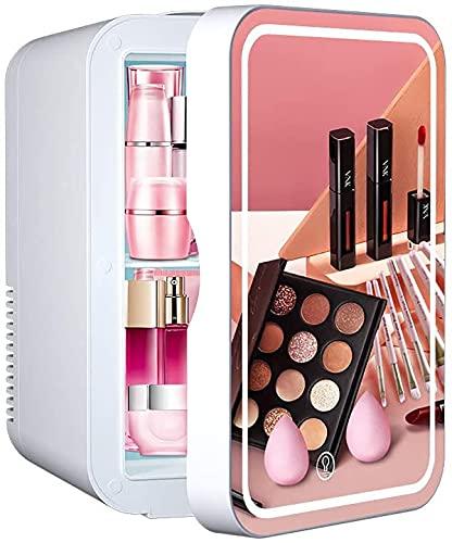 refrigerador cosmético pequeño, 8Lcon alimentación de CA/CC, Espejo de luz y belleza LED Mini Refrigerador Utilizado para Maquillaje y Cuidado de la Piel a