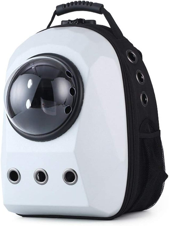 BigShiAUSPICIOUS Pets Out Portable Breathable Backpack Cat Bag Travel Space Bag Pet Supplies (color   White)