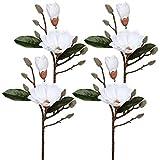 Fiori artificiali magnolia fiore fiore finto fiore reale bouquet artificiale per matrimoni, centrotavola, decorazione floreale casa, giardino, ufficio, composizione fiori 4 pezzi