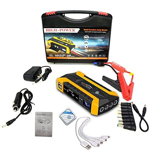 KTT Arrancador de batería de Coche Amarillo, Cargador portátil para Herramientas eléctricas al Aire Libre Fuente de alimentación de Reserva de Arranque Dual diésel
