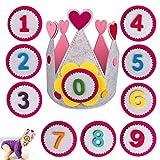Gxhong Corona de Cumpleaños para Bebe,Sombreros de Cumpleaños Coronas para Fiestas Corona de Tela Fieltro Sombrero de Feliz Cumpleaños con Números Reemplazables 1-9,para Niños y Niñas,Rosa