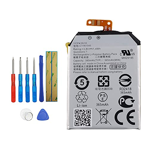 Vvsialeek C11N1540 Replacement Battery Compatible with Asus ZenWatch 2 WI501QF with Toolkit