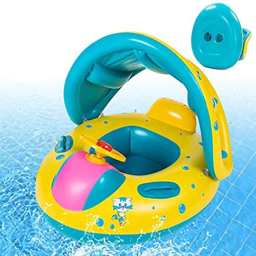 Baby Schwimmring, Schwimmring Baby mit Dach, Baby Schwimmring mit Sonnenschutz, Schwimmreifen Baby, Baby Schwimmring Aufblasbarer, Schwimmring für Kinder ab 6 bis 48 Monaten