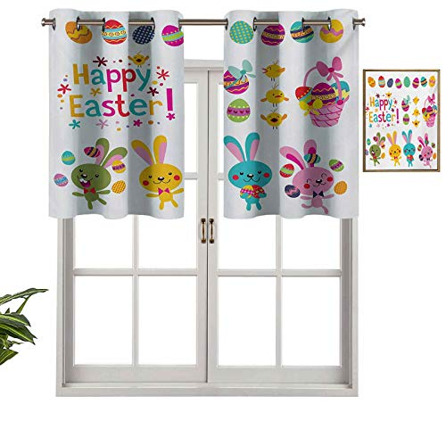 Modern Window Curtain Valance Spring Season Holiday Themed Colorful Cartoon Bunnies Chicks and Eggs Illustration, Set of 1, 54'x18' Home Decorative Blackout Panels for Living Room